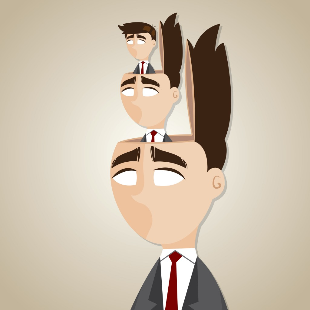 illustration of cartoon duplicate businessman in his head in manipulate concept